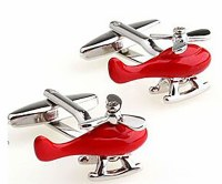 Red Helicopter Cufflinks with Cuff Link Display Gift Box