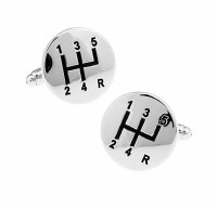 Silver Gear Cufflinks with Cuff Link Display Gift Box