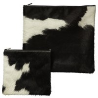 Tallis and Tefillin Bag Set Fur Brown White Cow Hide Design