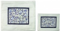 Yair Emanuel Embroidered Tallit & Tefillin Bag Set Blue on White