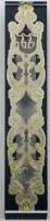 Mezuzah Case 24K Gold Plated Intricate Floral Design Black Border 15cm