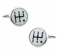 White Gear Cufflinks with Cuff Link Display Gift Box