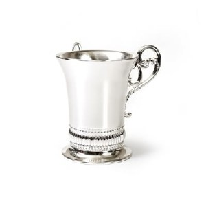 Nickle Plated Washing Cup SIlver Accordian Trim Design
