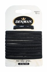 Denman No Slip Elastics Black 10pk