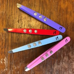 TRI Slanted Tweezers with 'Diamonds' in Blue