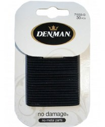 Denman 2mm No Damage Elastics Black 30pk