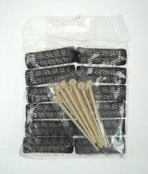 Comby Traditional Brush Rollers Brown 12pk