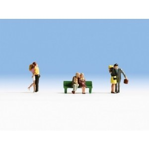 Noch OO 15510 Courting Couples (3 Couples & Bench) (HO Scale)