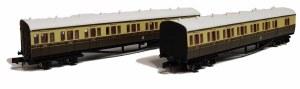 Dapol N 2P-003-006 B Set Coach Pack GWR Cities Crest Chocolate & Cream 6411 & 6412