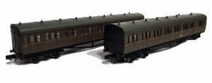 Dapol N 2P-003-008 B Set Coach Pack GWR Twin Cities Brown Orange Line 6453 & 6454
