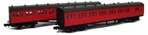 Dapol N 2P-003-010 B Set Coach Pack BR Crimson 6975 & 6976 No Crest