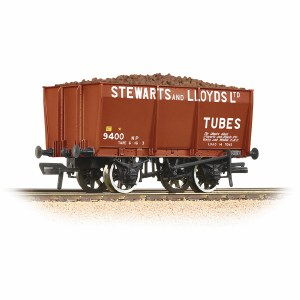 Bachmann OO 37-402 16T Steel Slope-Sided Mineral Wagon 'Stewart & Lloyds' Red - Includes Wagon Load