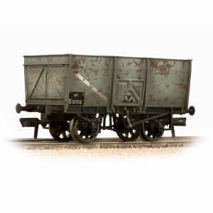 Bachmann OO 37-425B 16T Steel Slope-Sided Mineral Wagon BR Grey (Early) - Weathered