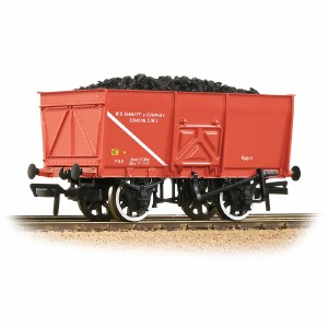 Bachmann OO 37-429 16T Steel Slope-Sided Mineral Wagon 'WD Barnett & Co.' Red - Includes Wagon Load