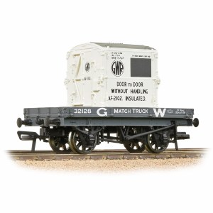 Bachmann OO 37-480 1 Plank Wagon GWR Grey With 'GWR' AF Container