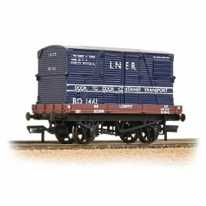 Bachmann OO 37-481 1 Plank Wagon LNER Bauxite With 'LNER' Blue BD Container