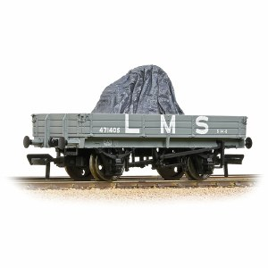 Bachmann OO 37-937 3 Plank Wagon LMS Grey - Includes Wagon Load