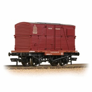Bachmann OO 37-951E Conflat Wagon BR Bauxite (Early) With BR Crimson BD Container