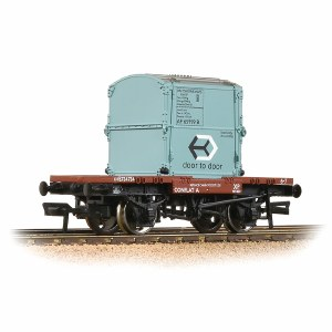 Bachmann OO 37-978A Conflat Wagon BR Bauxite (Early) With BR Ice Blue AF Container