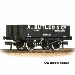 Graham Farish N 377-068 5 Plank Wagon Fixed End Wooden Floor 'A. Butler & Co.' Black