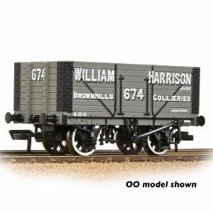 Graham Farish N 377-209 8 Plank Wagon Fixed End 'William Harrison' Grey