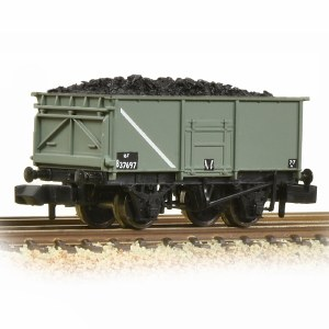Graham Farish N 377-250E BR 16T Steel Mineral Wagon With Bottom Doors BR Grey (Early) - Includes Wagon Load