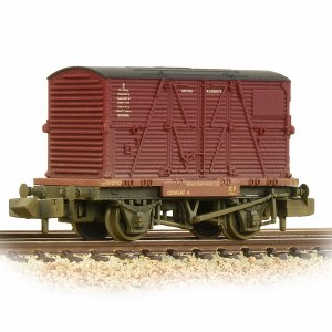 Graham Farish N 377-328C Conflat Wagon BR Bauxite (Early) With BR Crimson BD Container - Weathered - Includes Wagon Load