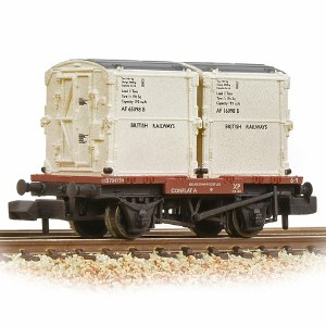 Graham Farish N 377-340B Conflat Wagon BR Bauxite (Early) With 2 BR White AF Containers - Weathered - Includes Wagon Load