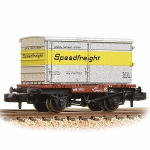 Graham Farish N 377-345 Conflat with Un-Vented Alloy BA Container Speedfreight