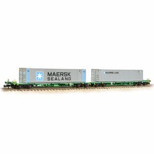 Graham Farish N 377-369 FIA Intermodal Bogie Wagons With 'Maersk line' 45ft Containers - Includes Wagon Load