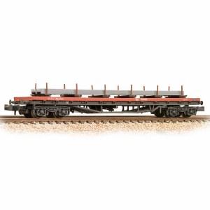 Graham Farish N 377-601C BR BDA Bogie Bolster BR Railfreight Red - Weathered - Includes Wagon Load