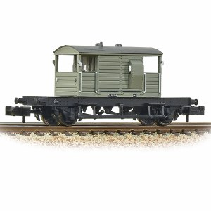 Graham Farish N 377-852A SR 25T 'Pill Box' Brake Van Right Hand Duckets BR Grey (Early)