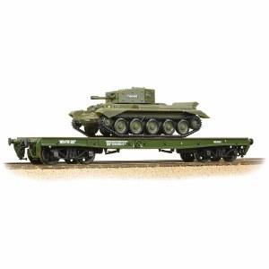 Bachmann OO 38-725 Warflat Bogie Flat Wagon WD Khaki Drab Livery with Tank