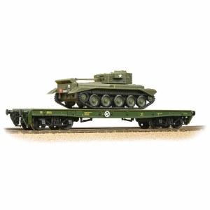 Bachmann OO 38-726 Warflat Bogie Flat Wagon WD Bronze Green with Tank