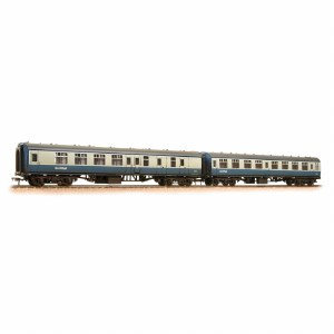 Bachmann OO 39-004 BR MK1 Twin Coach Pack (SK & BSK) BR Blue & Grey with ScotRail Branding '18360' & 34668' Weathered includes Fitted Passengers