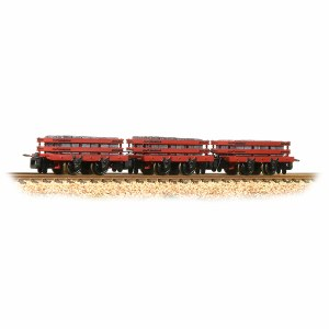 Bachmann Narrow Gauge OO9 393-076 Slate Wagons 3-Pack Red with Slate Load - Includes Wagon Load