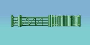 Ratio OO 430 Picket Fencing green including gates and ramps