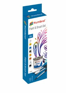 Humbrol Other AA9062 Enamel Paint and Brush Metallic Set