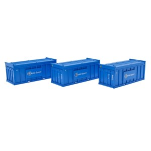 Accurascale OO ACC2256GYPB Pack of 3 Gypsum 20' Containers - Blue Containers