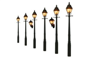 Gaugemaster OO GM856 Taper Post Gas Lamps Soft Black (Value Pack)