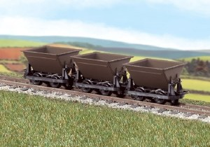 "Peco OO9 GR-330 Hudson ""Rugga"" V Skip Tipping Wagons - Brown - Pack of 3"