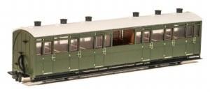 Peco OO9 GR-451U Lynton and Barnstaple Railway Centre Observation Coach Green Un-numbered