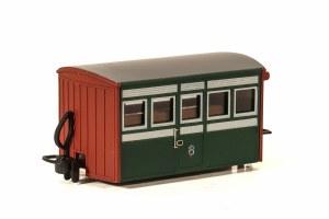 Peco OO9 GR-551 Ffestiniog Railway 'Bug Box' 4 Wheel Coach Early Preservation Livery, 1st Class