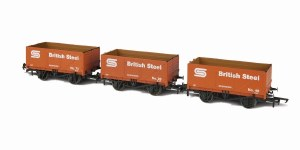 Golden Valley Hobbies OO GV6013 7 Plank Open Coal Wagons BSC (British Steel) (Pack of 3)