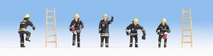 Noch OO 15021 Fire Brigade Black Clothing Figure Set (5) (HO Scale)