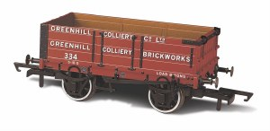 Oxford Rail OO OR76MW4008 4 Plank Wagon 'Greenhill Colliery' 334