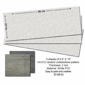 Proses OO P3D-EB-02 Embossed PVC Sheets (Random Cobblestone) 3 pcs. 14X34 cm Thick.: 2mm