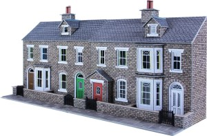 Metcalfe OO PO275 Low Relief Stone Terraced House Fronts