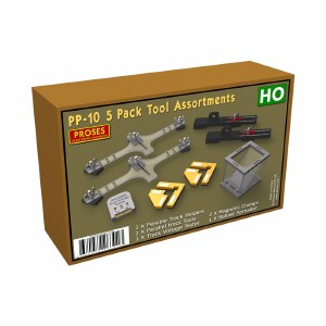 Proses OO PPP-10 5 Pack Tool Assortments for HO, 2 X Flexible Track Holders, 2 X Parallel Track Tools, 1 X Track Voltage Tester, 2 X Snap & Glue Magnetic Clamps, 1 X Ballast Spreader
