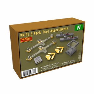 Proses N PPP-11 5 Pack Tool Assortments for N, 2 X Flexible Track Holders, 2 X Parallel Track Tools, 1 X Track Voltage Tester, 2 X Snap & Glue Magnetic Clamps, 1 X Ballast Spreader